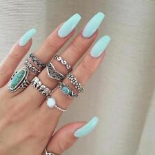 Vintage Native American Turquoise Flower Ring Women Fashion Ring Jewelry H