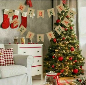Merry Christmas Decoration brown craft paper Bunting Christmas Gifts Banner