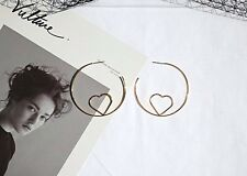 14K Gold Plated Heart Hoop Dangle Drop Fashion Earrings 039