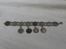 WWII US Army English Sweetheart Coin Bracelet 1909 to 1940
