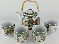 5pc Ceramic FOUR BEAUTIES Chinese Tea Set Teapot strainer 4 Cups in gift box