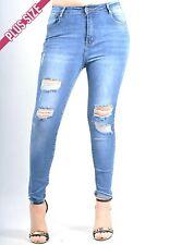 Pink Diva - Knee Ripped Frayed Hem Distressed Jeans PLUS size