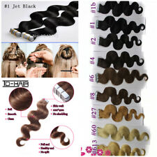 7A  body wavy&curly Tape In pu Skin Weft Remy Human Hair Extensions 40g 20pcs