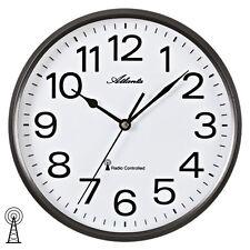 NEU Funk Wanduhr Uhr Funkuhr Atlanta Analog anthrazit weiß Büro Business 25 cm