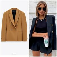 ZARA NEW WOMAN TAILORED DOUBLE-BREASTED BLAZER JACKET CAMEL XS-XL 7759/295