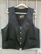 Men's handmade 100% genuine leather black western cowboy vest XL
