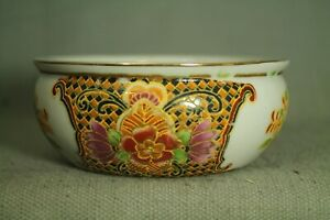 vintage Chinese Asian Oriental porcelain bowl colorful gold purple green flowers
