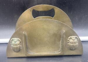 Antique Benedict Karnak Brass 577 Scarab Letter Holder Egyptian Revival Art Deco