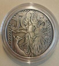 Alphonse Mucha Antiqued 5 0z .999 silver coin JOB #1 in Art collection Rare COA