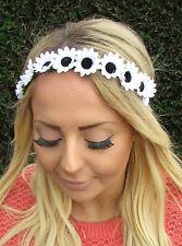 Black White Daisy Chain Flower Garland Headband Hair Band Crown Festival 1952