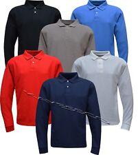 Mens Long Sleeve Plain Pique Polo Shirt Top Casual Cotton Mix S - XXL