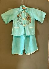 1950's Vintage Child's Traditional Japanese Outfit / Aqua Blue / Made in Japan