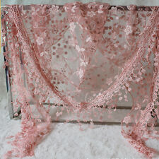 New Women Lace Tassel Rose Floral Knit Mantilla Triangle Hollow Scarf Shawl Wrap
