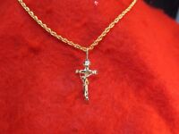 "14 KT GOLD EP  CRUCIFIX CROSS 1 1/8"" CHARM PENDANT WITH A 20""  ROPE CHAIN -2056"