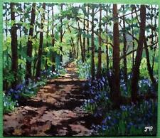 Original Impressionist Painting by Melanie Reynoso : The Bluebell Forest Path