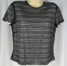 Linda Allard Ellen Tracy Black Beaded Sheer Lace Shell Cocktail Evening Top S 10