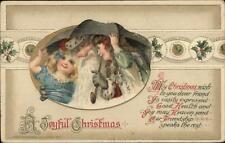 Christmas - Santa Claus & Girls Under Umbrella John Winsch c1910 Postcard