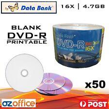 50 x Data Bank DVD-R 16x 4.7GB Inkjet Printable Blank DVD Discs Digital Media
