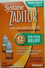 Systane Zaditor 2 bottles Antihistamine Eye Drops 0.17oz Twin Pack EXP 10/2020+