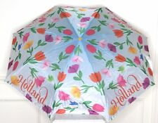 Tulips Holland Spellout Umbrella Blue Pink Yellow Tulip Handle Folds Small H
