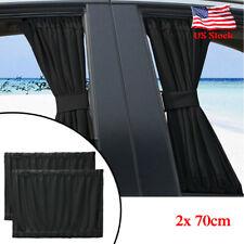 2Pcs Car Window Curtain Sunshade Universal Baby VIP Van SUV UV Visor Kit Black
