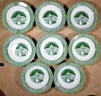 "8 Rimmed Soup Pasta Bowls 8.375"" The Old Curiosity Shop Green Royal China USA"