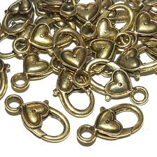 MXL5108p Antiqued Gold Large 27mm Heart Design Lobster Claw Focal Clasp 25/pk
