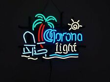 "New Corona Light Palm Tree Beach Chair Sun Neon Sign 20""x16"""