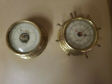 New listing 2 Vintage Airguide Ship's Wheel Style Marine Barometer and Round Mid-Century