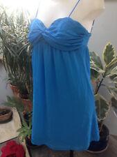 PIMKIE  robe bretelle courte bleu turquoise voile polyester sexy Taille 40