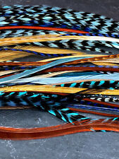 "50 Real Feather hair extensions Grizzly solid Blue Turquoise Brown  6"" to 11"""