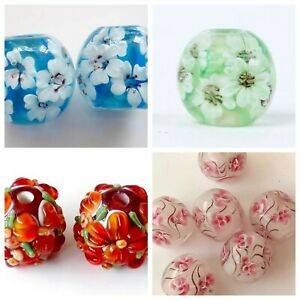 2 Flower lampwork glass beads 14mm, your choice. Earring pairs/pendant beads