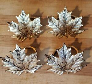 Set of 4 Brass Maple LeafNapkin Rings