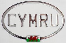 CYMRU Mirror Chrome Gel Domed CAR STICKER with Welsh Dragon 150mm X 100mm