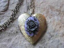 BLACK ROSE ON PURPLE CAMEO BRONZE HEART LOCKET - UNIQUE, HANDMADE, ANTIQUE LOOK