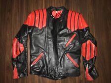 TT LEATHERS INTERNATIONAL VINTAGE RARE RED BLACK MOTO MOTORCYCLE LEATHER JACKET