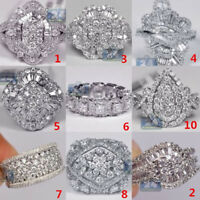 925 Sterling Silver White Sapphire Ring Women Fashion Wedding Jewelry New Sz6-10