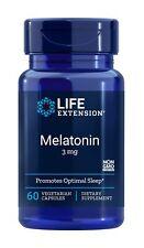 LIFE EXTENSION Melatonin 3mg 60 Vegetarian Capsules FREE WORLDWIDE SHIPPING