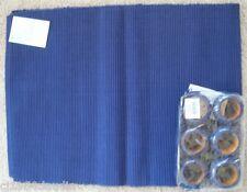 MAXWELL & WILLIAMS CASA DOMANI BLUE TABLE RUNNER & SET 6 BLUE NAPKIN RINGS NEW