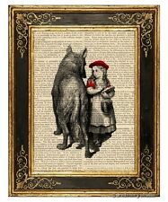 Little Red Riding Hood & Wolf Art Print on Antique Book Page Vintage Illust