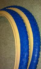 "2NEW DURO BMX BICYCLE TIRES ,16""x2.125""BLUE-GUMWALL,COMP 3 MX3 TYPE"