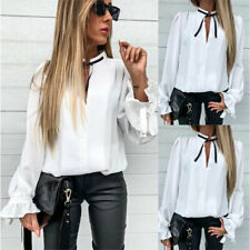 Damen Business Bluse Hemd Rüschen T-Shirt Langarmshirt Freizeit Oberteile Tops