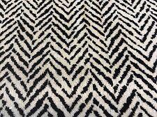 Kravet B&W Velvet Chevron Herringbone Upholstery Fabric- The Fray / Nero 7.50 yd