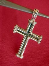 David Yurman Sterling Silver Chevron Cross Pendant with White Diamonds