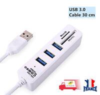USB Hub 3.0 Multi 3 Ports + 2 Lecteur de Carte Combo Micro SD / TF Haute Vitesse
