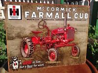 Vintage IH McCormick Farmall Cub Tractor Tin Metal Sign Wall Garage Classic
