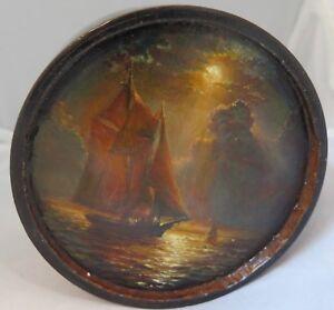 Vintage Wood Trinket Box with Hand Painted Nautical Scene