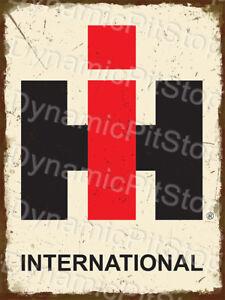 30x40cm International Trucks Tractor Logo Rustic Tin Sign or Decal, Cave, Bar