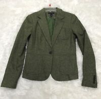Womens Lands End Wool Blend Blazer sz 4 Green Herringbone