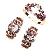 Oval Amethyst Rhodolite 14k Rose Gold Plate 925 Sterling Silver Ring Earrings